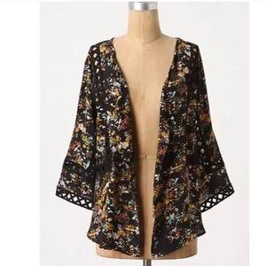 {Anthro} Silk Cassia Kimono Jacket